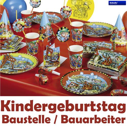 Baustelle bauarbeiter alles zum kindergeburtstag for Kindergeburtstag party set