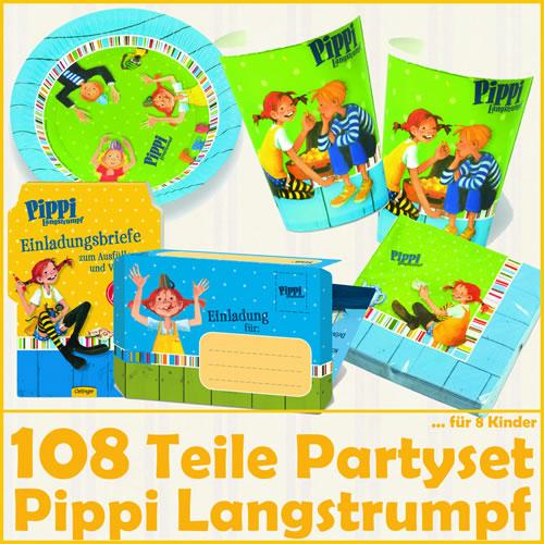pippi langstrumpf - 108-teiliges kindergeburtstag-set für 8 kinder, Einladung