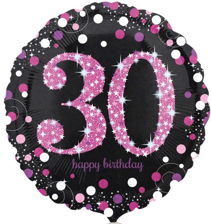 Runder Folienballon - Sparkling Pink Zahl 30 (45cm)
