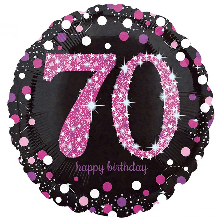 Runder Folienballon - Sparkling Pink Zahl 70 (45cm)