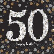 16 Servietten mit der Zahl 50 - Sparkling Celebration