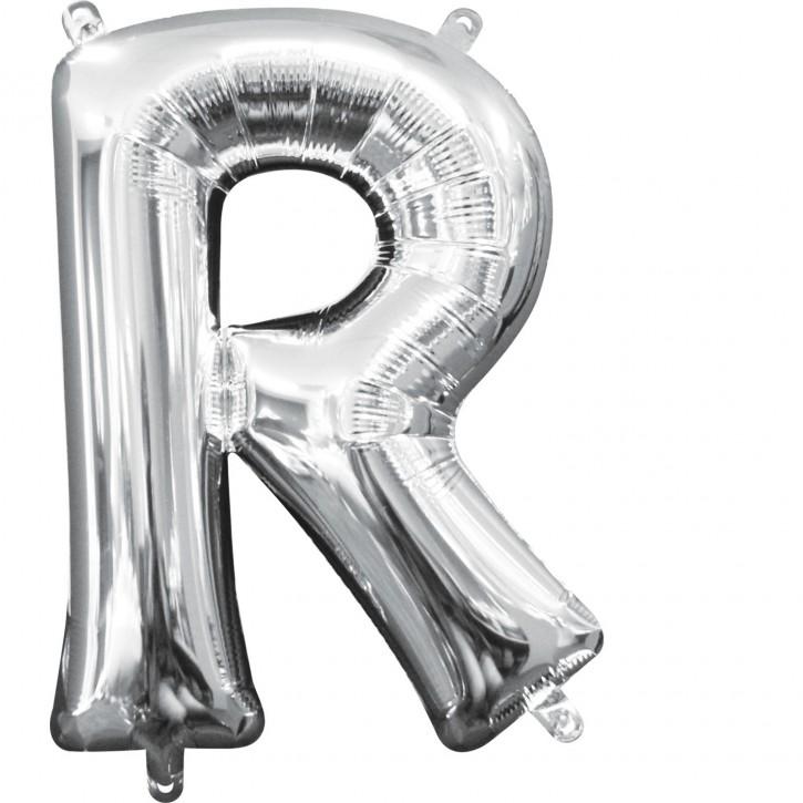 """Air-Filled Folienballon silber - """"R"""" (40cm)"""