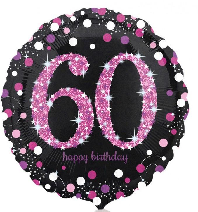 Runder Folienballon - Sparkling Pink Zahl 60 (45cm)