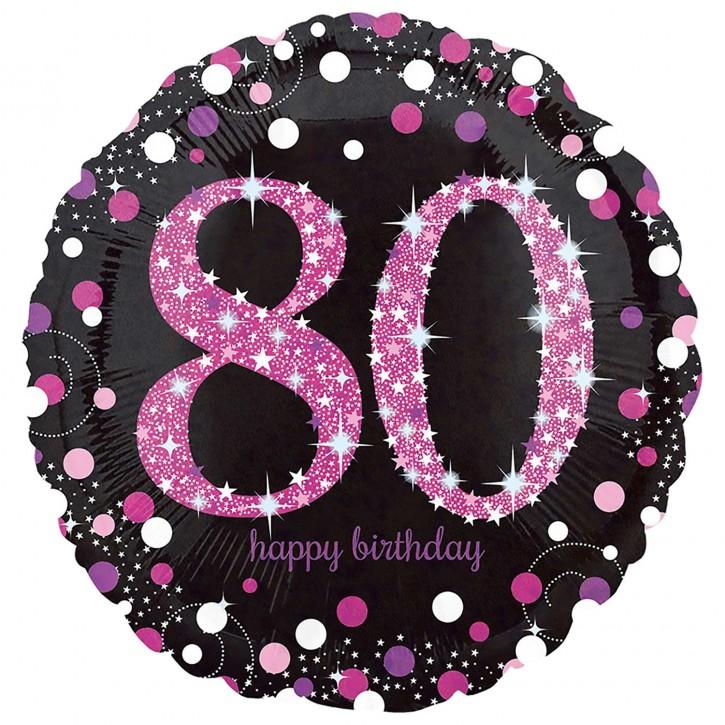 Runder Folienballon - Sparkling Pink Zahl 80 (45cm)