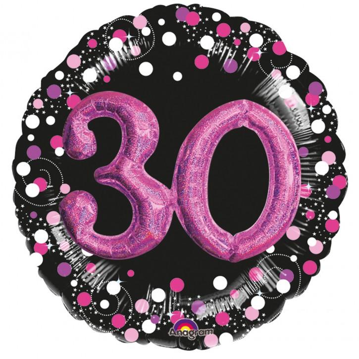 XXL 3-D Folienballon - Sparkling Pink Zahl 30 (81cm)