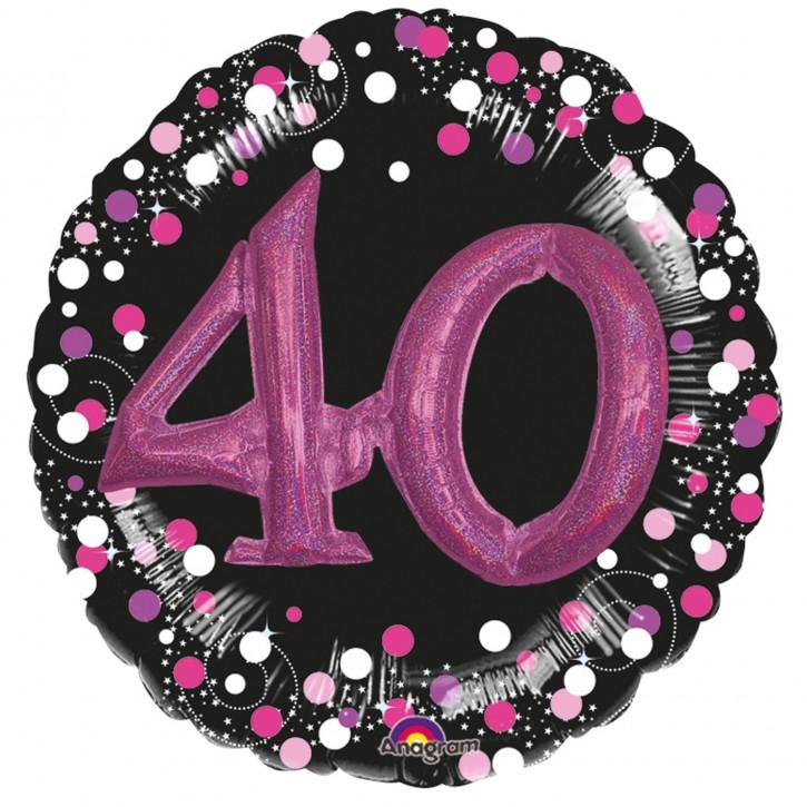 XXL 3-D Folienballon - Sparkling Pink Zahl 40 (81cm)