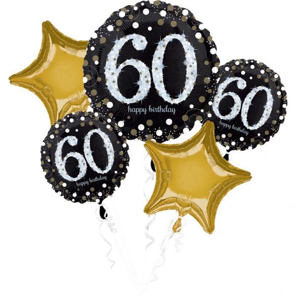 Folienballon-Set Sparkling Gold Zahl 60