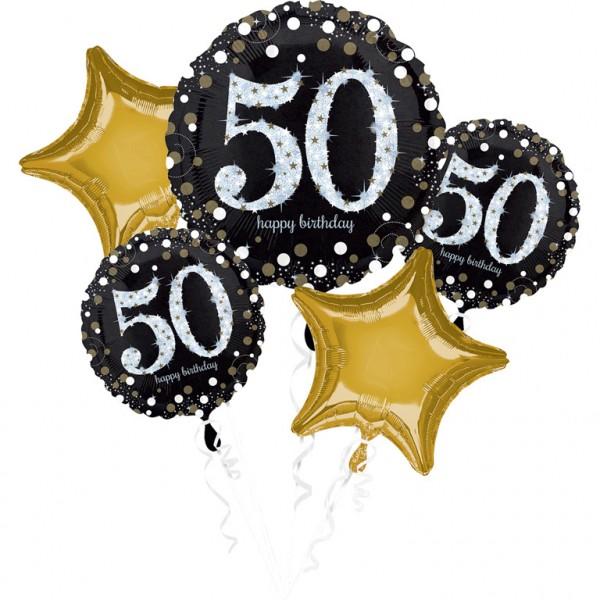 Folienballon-Set Sparkling Gold Zahl 50