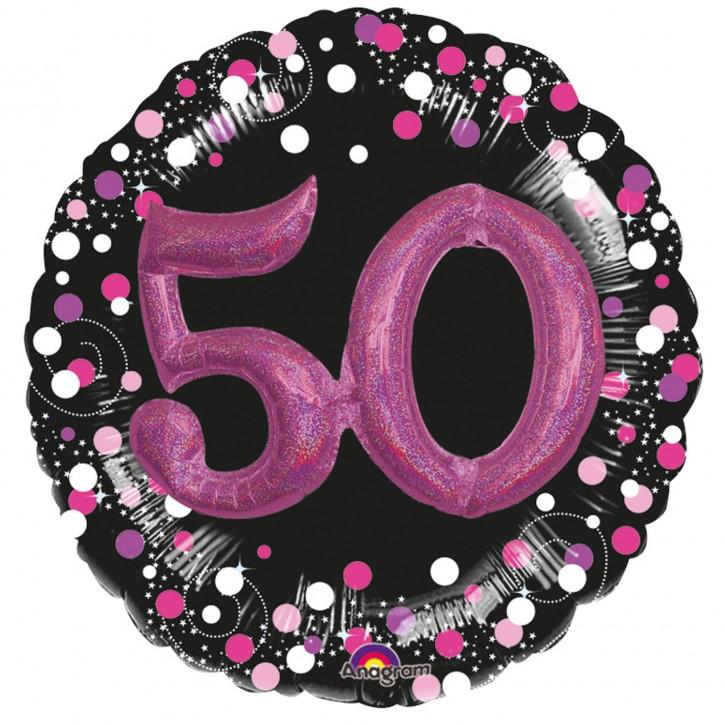 XXL 3-D Folienballon - Sparkling Pink Zahl 50 (81cm)