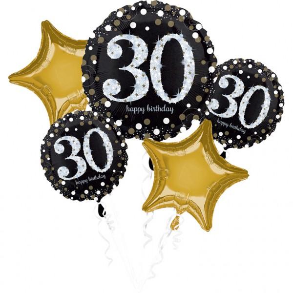 Folienballon-Set Sparkling Gold Zahl 30