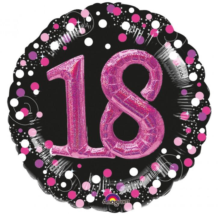 XXL 3-D Folienballon - Sparkling Pink Zahl 18 (81cm)