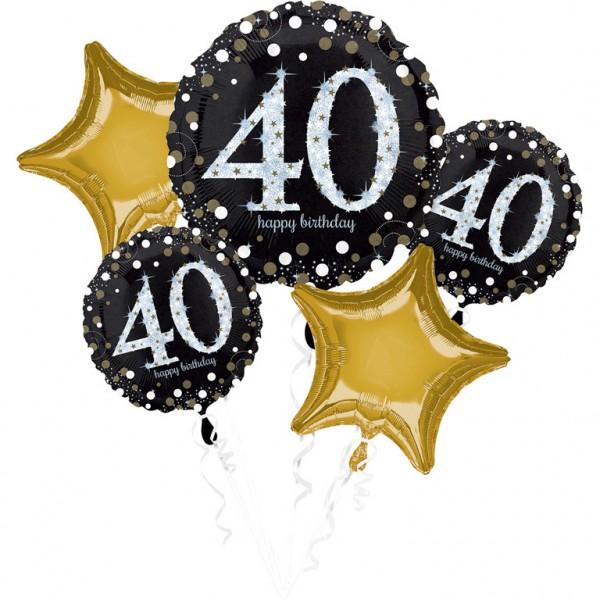 Folienballon-Set Sparkling Gold Zahl 40