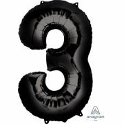 Folienballon Zahl 3 - in Schwarz