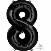 Folienballon Zahl 8 - in Schwarz