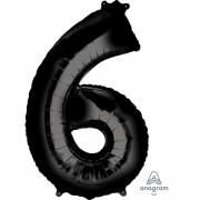 Folienballon Zahl 6 - in Schwarz