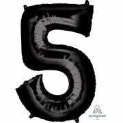 Folienballon Zahl 5 - in Schwarz