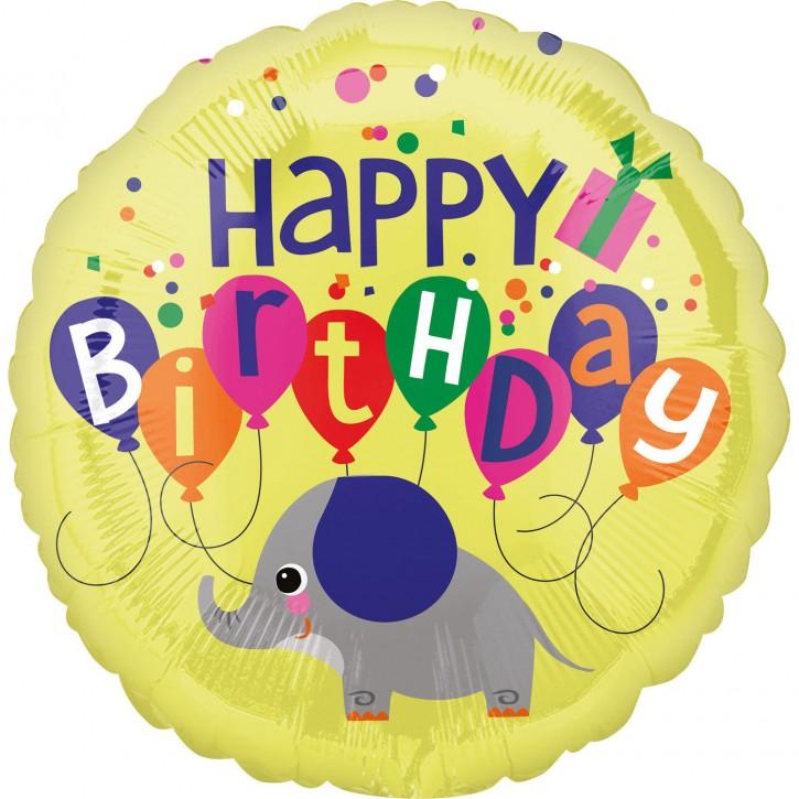 Folienballon Elefant - Happy Birthday (43cm)
