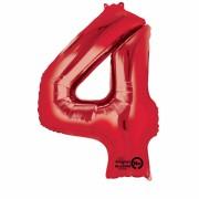 Folienballon Zahl 4 - in Rot