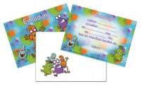 6 Einladungen + Umschläge DIN A6 Monster