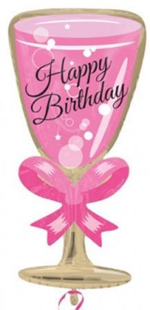 Jr. Shape Folienballon Sekt/Pink - Happy Birthday (40x73cm)