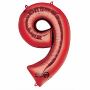 Folienballon Zahl 9 - in Rot