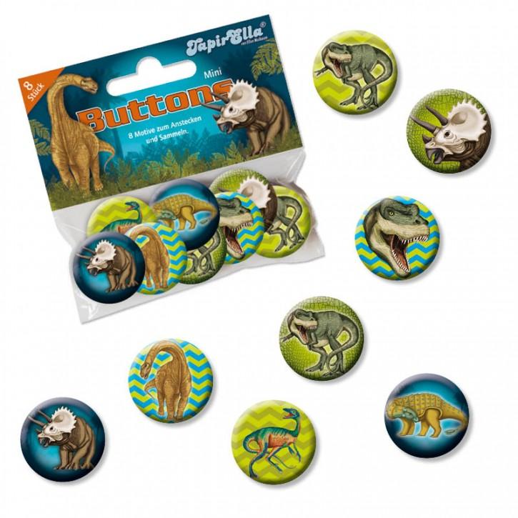 8 Mini Buttons Dinosaurier & T-Rex
