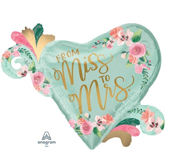 Supershape Folienballon Herz - From Miss to Mrs / She said yes (81x66cm)