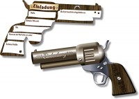 6 Einladungen Revolver