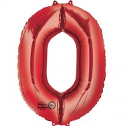 Folienballon Zahl 0 - in Rot