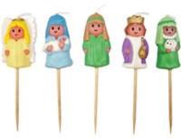 5 Mini-Figurenkerzen Weihnachten