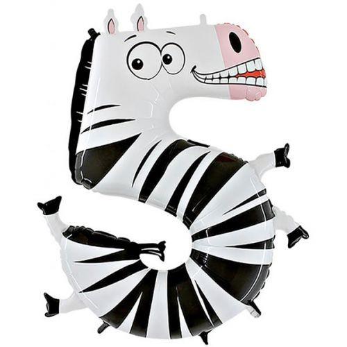 Folienballon Zahl 5 - Zebra