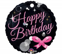 Holografie-Folienballon Happy Birthday - Ohne Helium