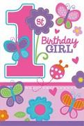 8 Einladungen mit Umschläge 1. Birthday - Girl