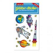 Weltraum Glitter-Sticker