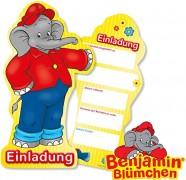 6 Einladungskarten Benjamin Blümchen