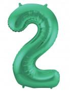 Folienballon Zahl 2 - in Grün