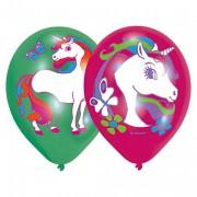 6 Luftballons Regenbogen-Einhorn - Grün & Rot