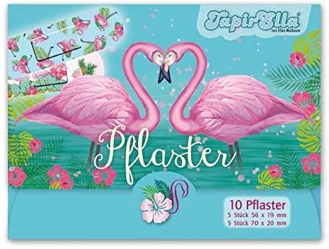 10 Kinder-Pflaster Pink Flamingo