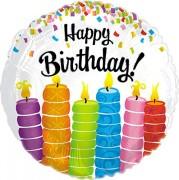 Folienballon Happy Birthday - Kerzen - Ohne Helium