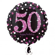 Folienballon 50. Geburtstag - Sparkling Pink