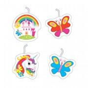 4 Mini-Figurenkerzen Regenbogen-Einhorn
