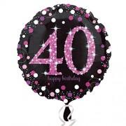 Folienballon 40. Geburtstag - Sparkling Pink