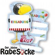 6 Einladungskarten kleiner Rabe Socke