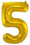 Folienballon Zahl 5 - in Gold