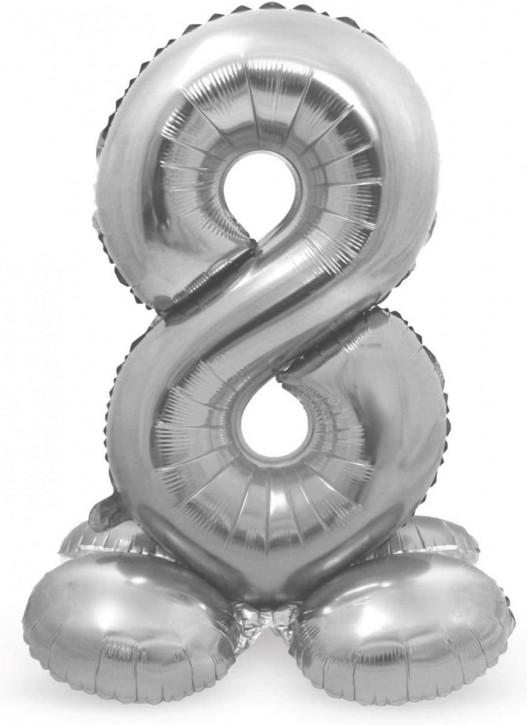 Stehender Folienballon in Silber - Zahl 8