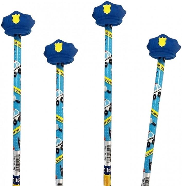 4 Bleistifte mit Radiergummi - Polizei