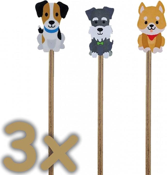 3 Bleistifte mit Radiergummi - süße Hunde