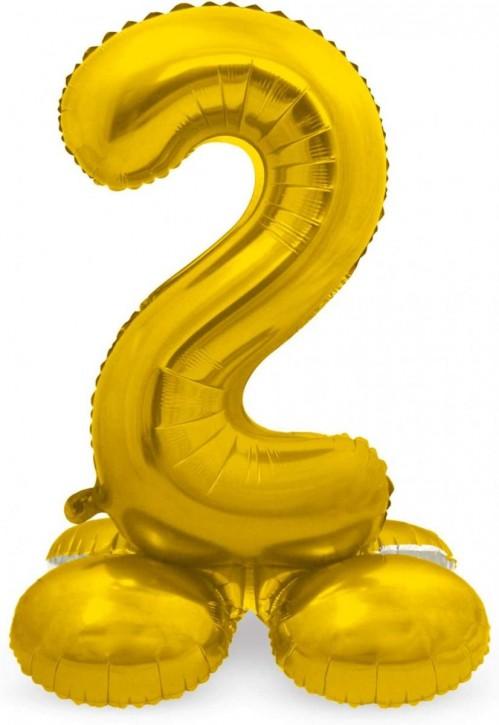 Stehender Folienballon in Gold - Zahl 2