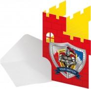 8 Einladungen + Umschläge Cooler Ritter