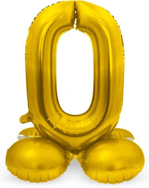 Stehender Folienballon in Gold - Zahl 0